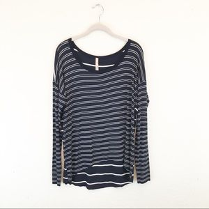 Bailey 44 | Navy Striped Hi-Lo Blouse